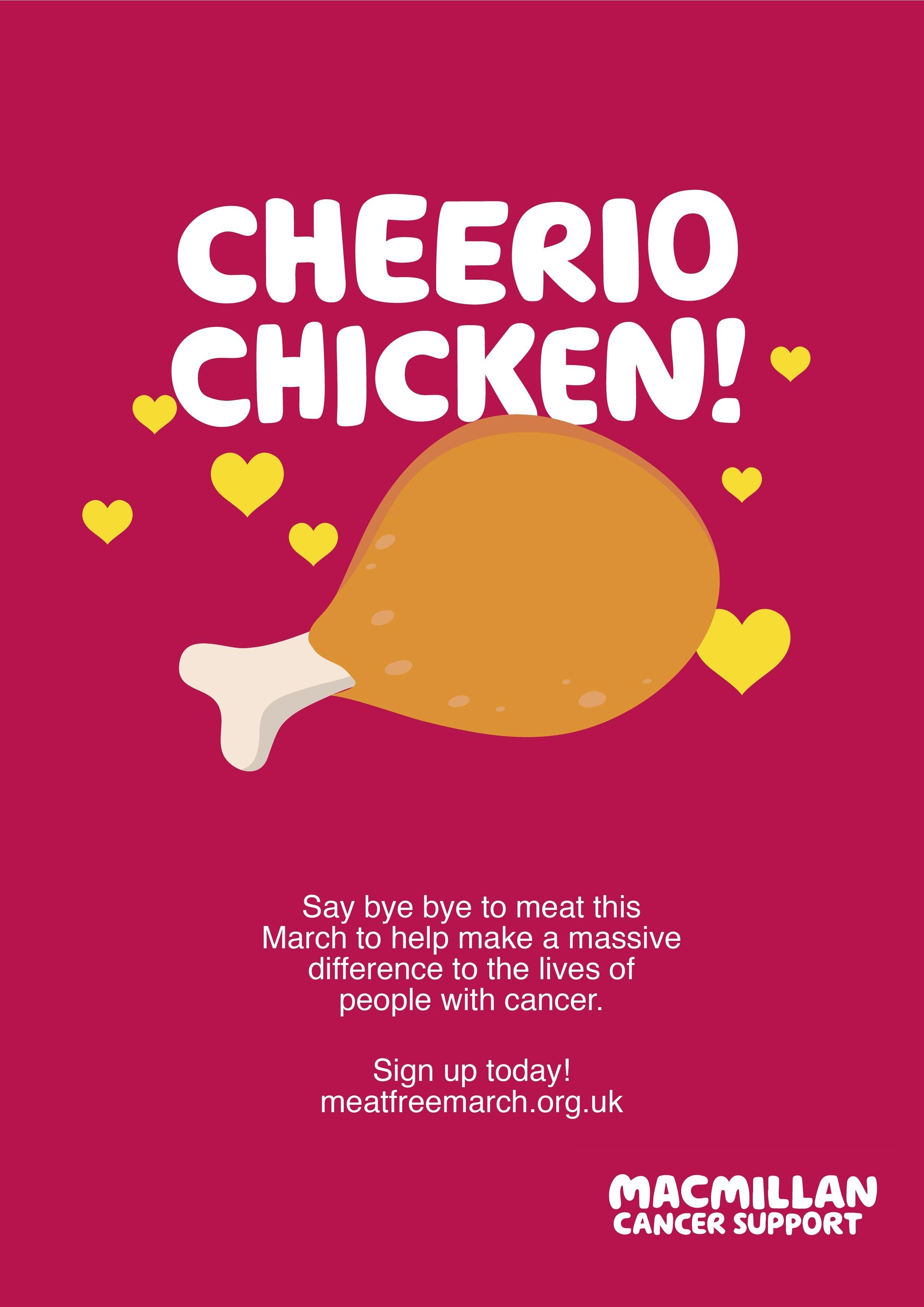 Pink background - cheerio chicken