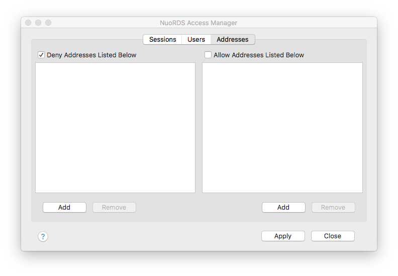NuoRDS Access Manager addresses tab