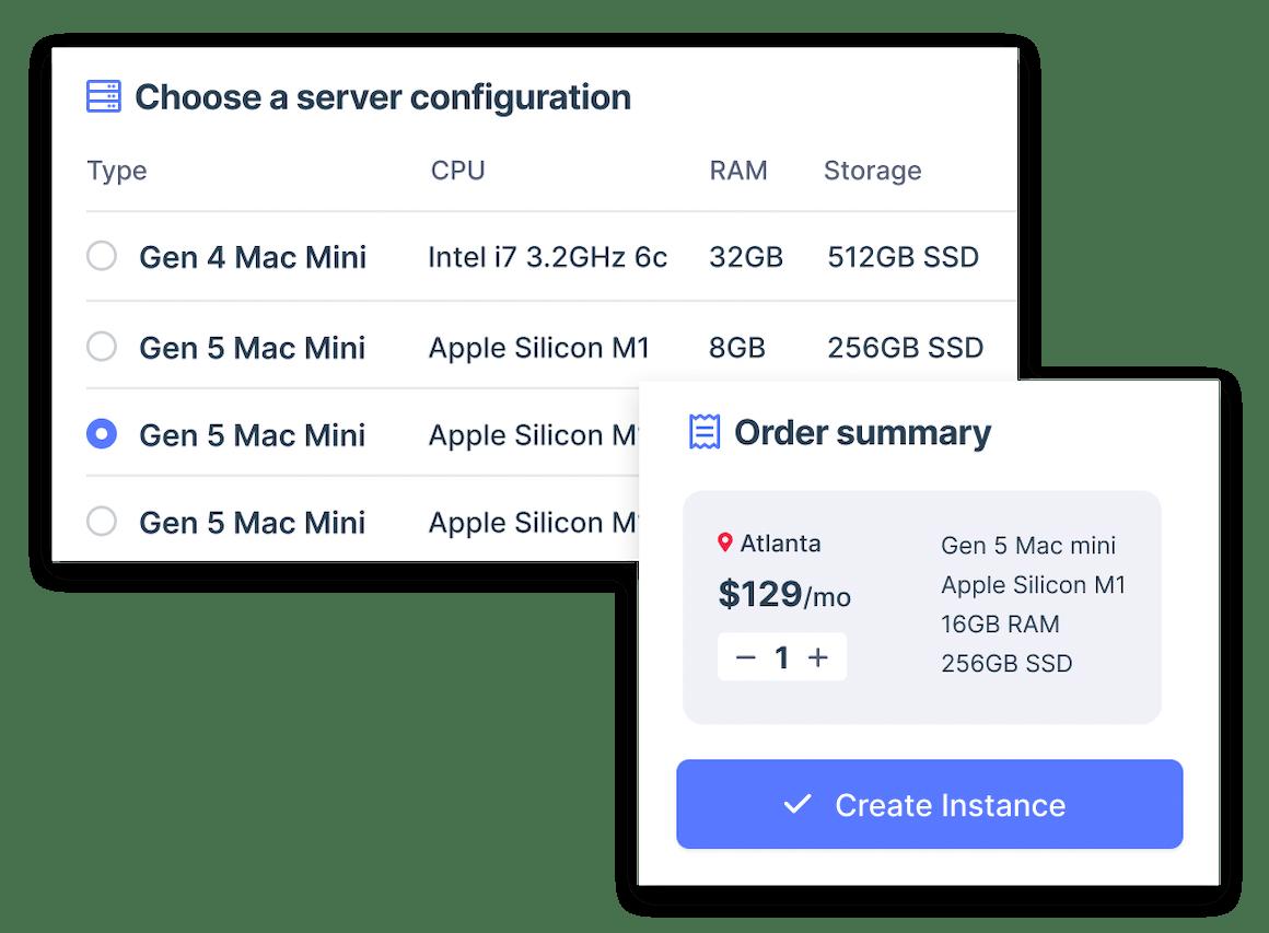 Mac mini order screens