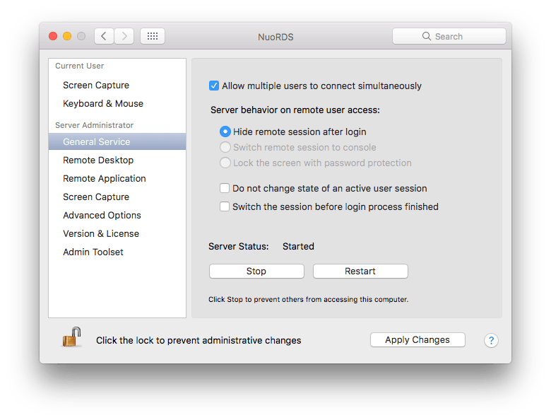 NuoRDS General Service settings screen