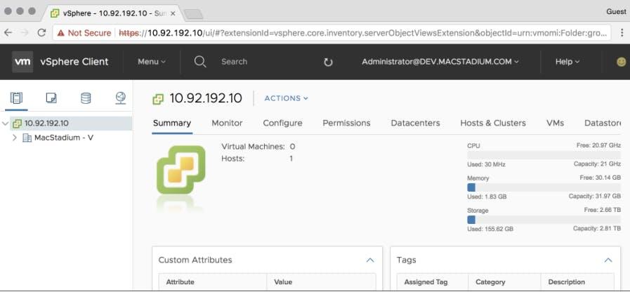 HTML5 vCenter client screen