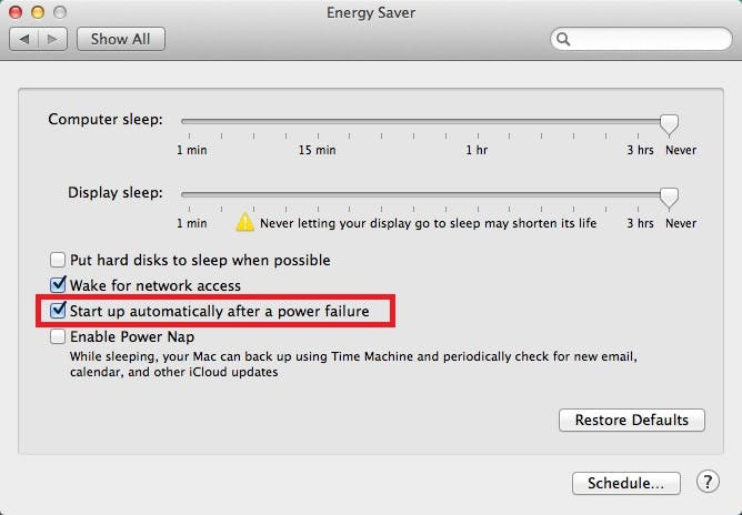 Mac Energy Saver with Start Up automatically after power failure highlighted