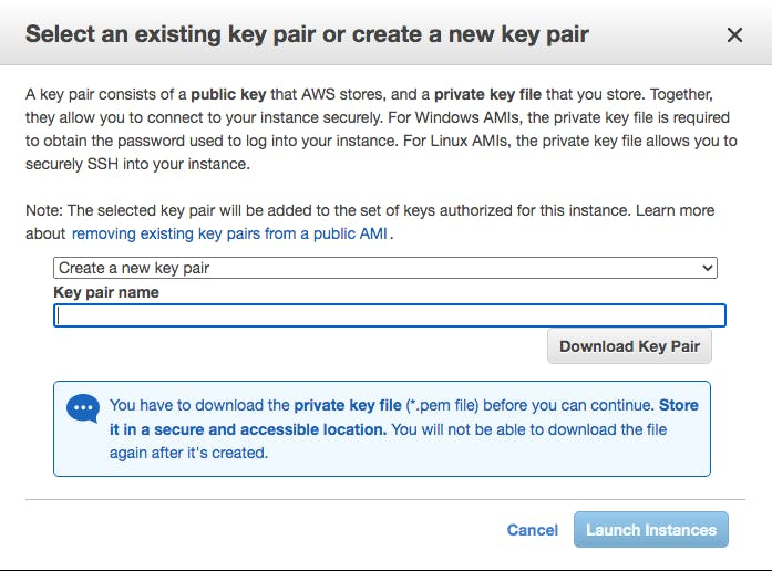 AWS EC2 create and download your key pair