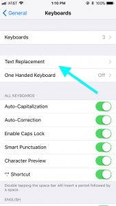 iOS Text Replacement