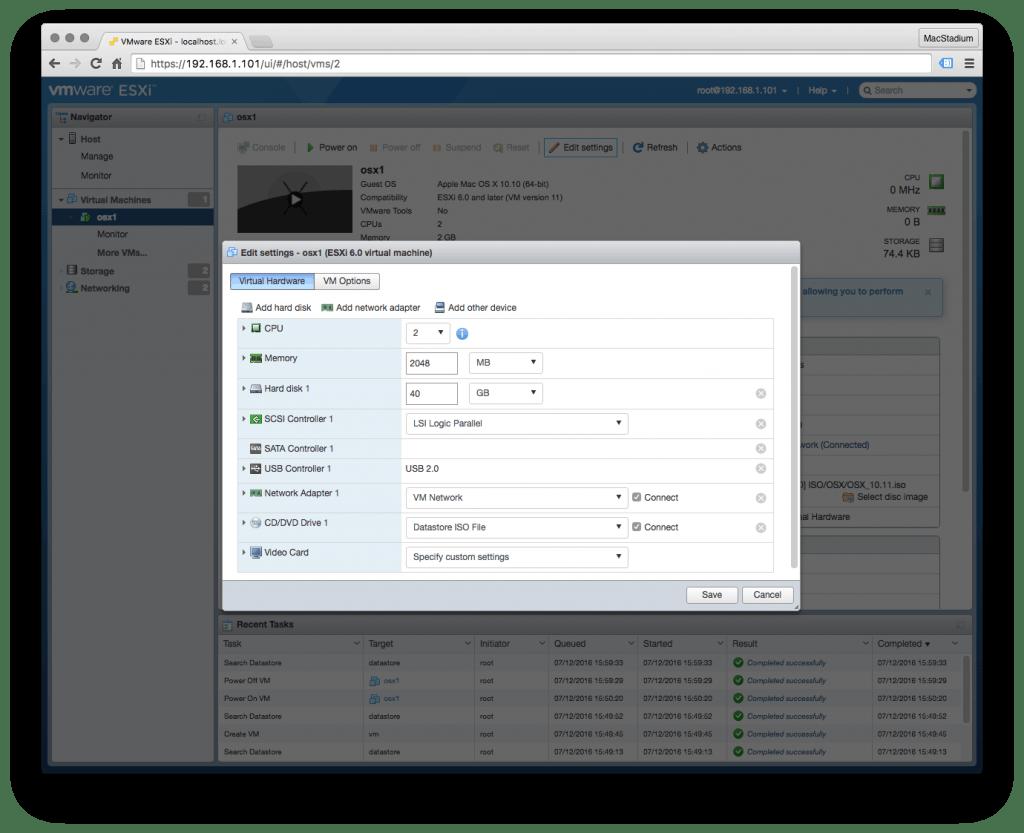 edit settings in virtual machine