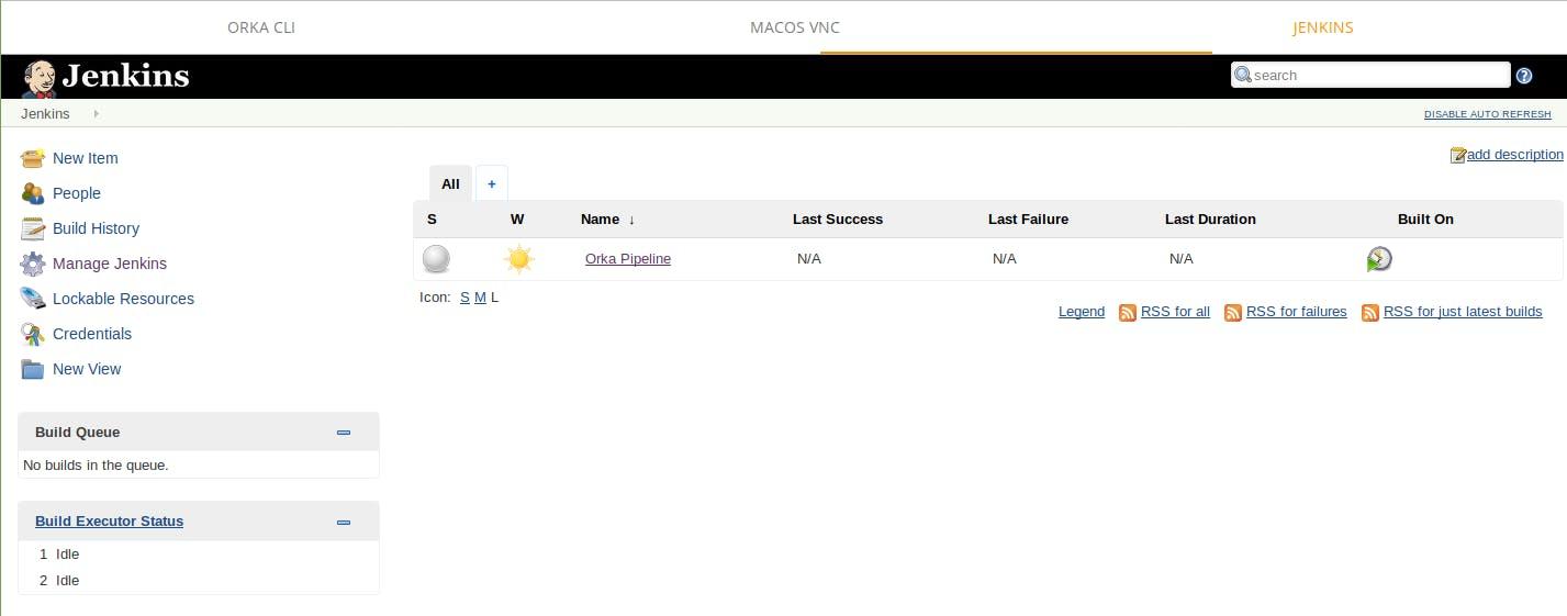 Jenkins screenshot showing job titled orka pipeline running