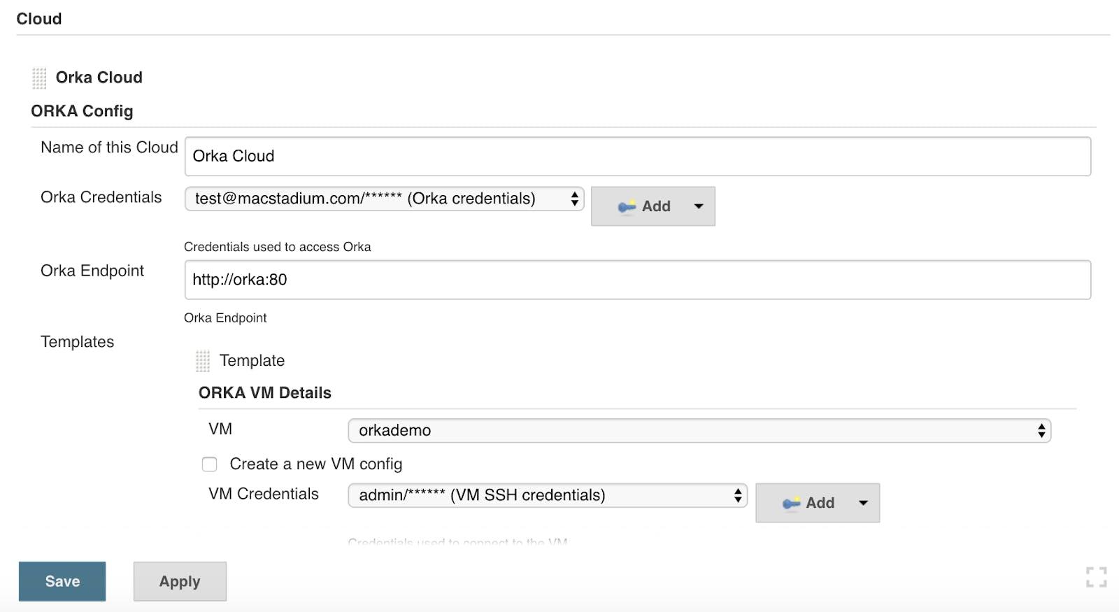 Orka Config screenshot with VM details