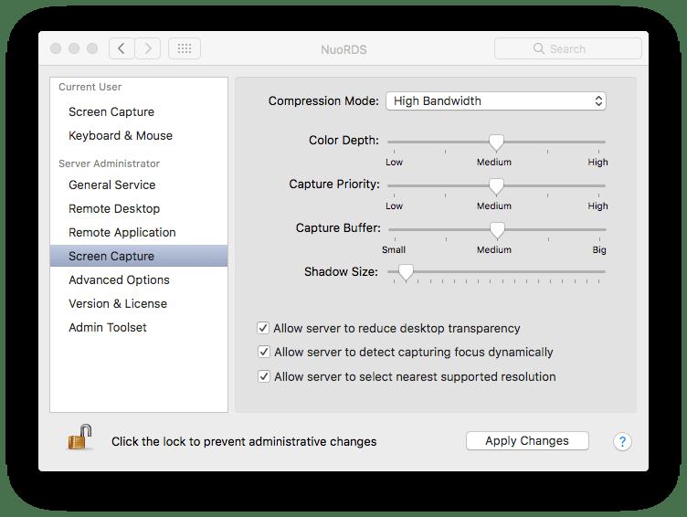 NuoRDS Admin screen capture settings