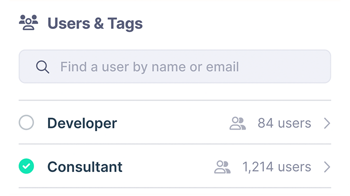 Users and Tags screen