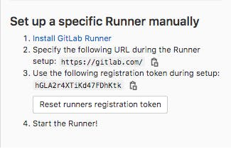 Screenshot that says: Set up a specific Runner manually. 1. Install GitLab Runner 2. Specify the following URL during the Runner setup: https://gitlab.com 3. Use the following registration token during setup: <redacted> 4. Start the runner