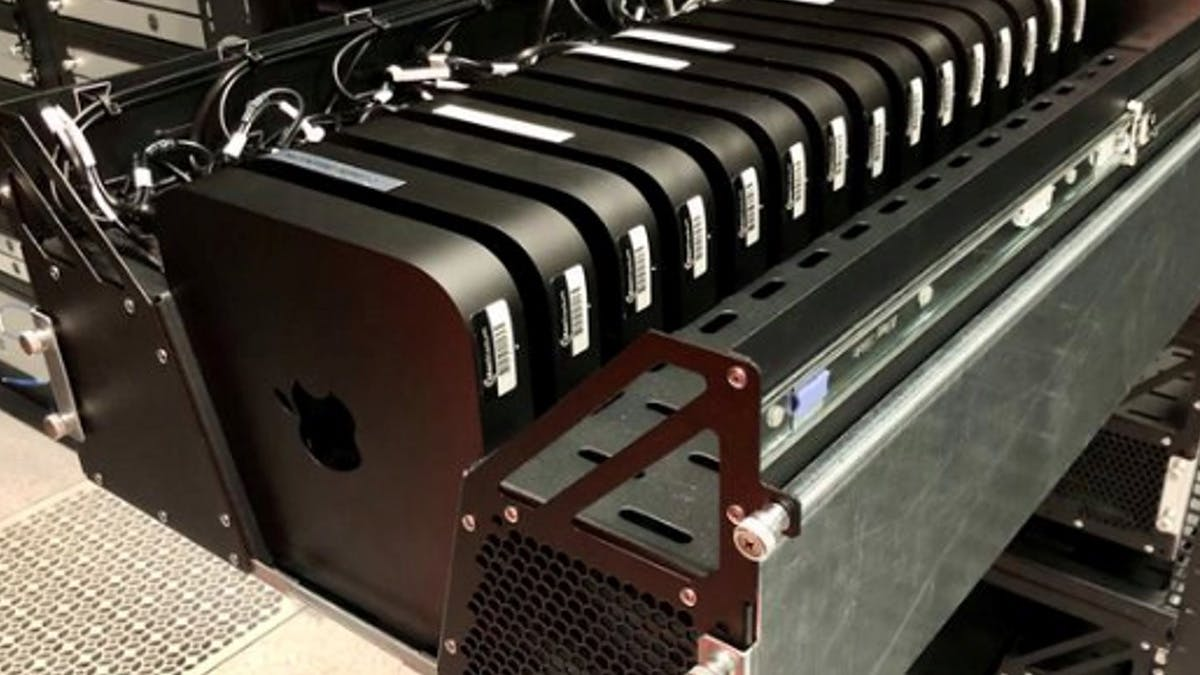 Server rack filled with Mac minis