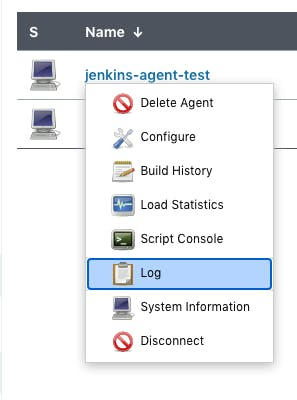 Jenkins agent drop down with log selected