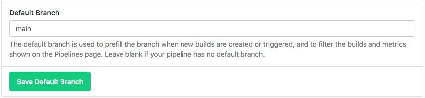 Screenshot of Default branch setting