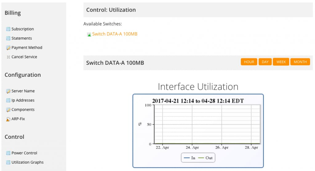 Screenshot of MacStadium networking screen