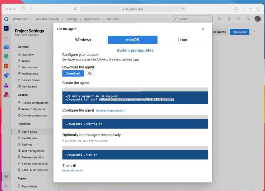 macOS agent configuration screen in Azure DevOps