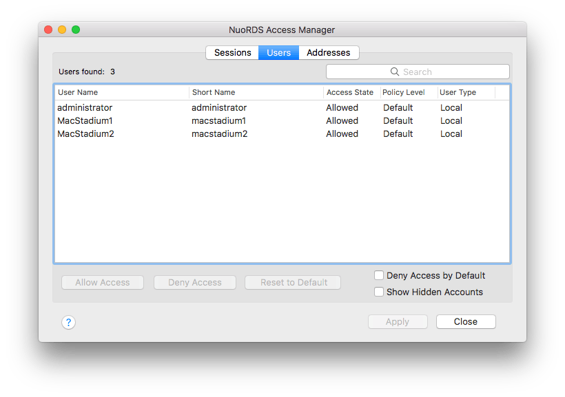 NuoRDS access manager