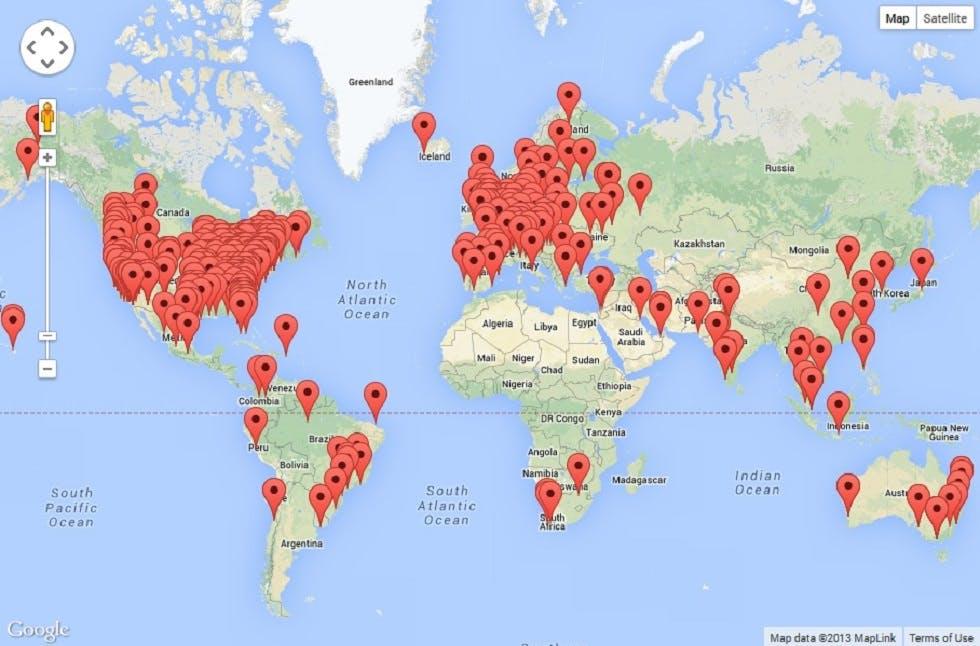 Map of world with pins indicating MacStadium customers