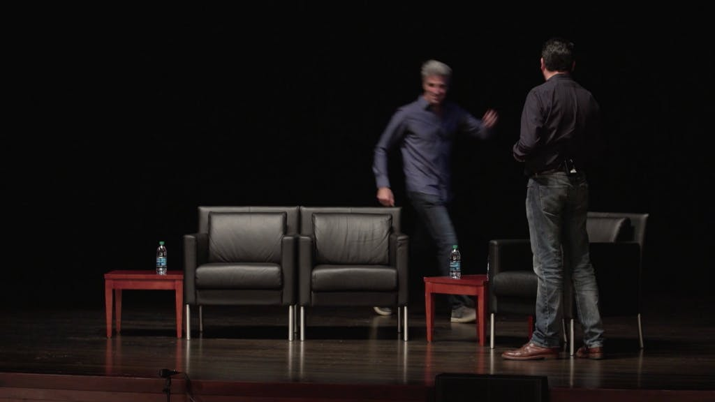 Craig running onto the stage like a blur