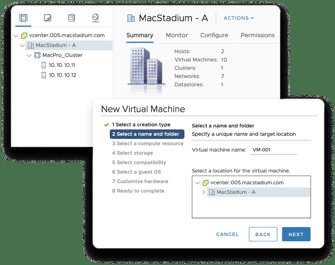 vCenter New VM screens