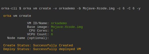 Orka-cli screenshot showing vm create command