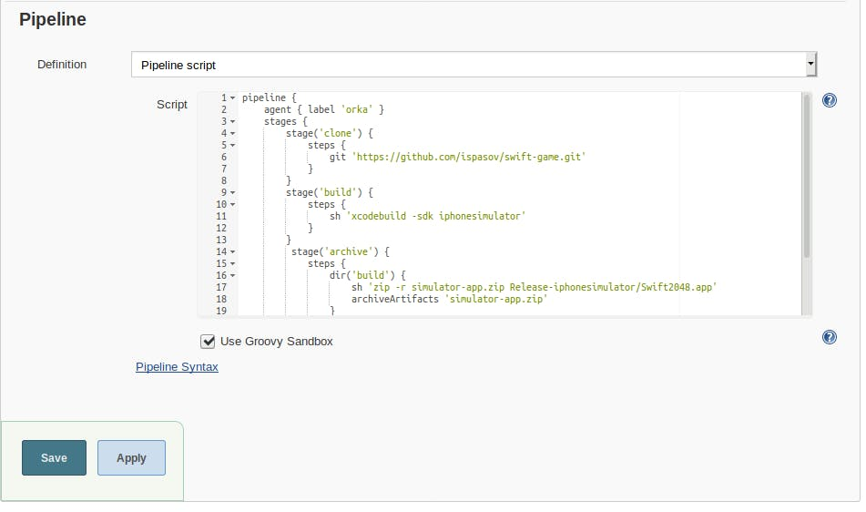 Jenkins pipeline build script