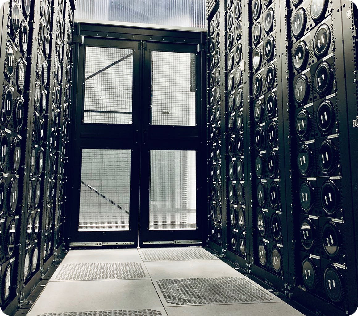 Racks of Mac Pros in a data center