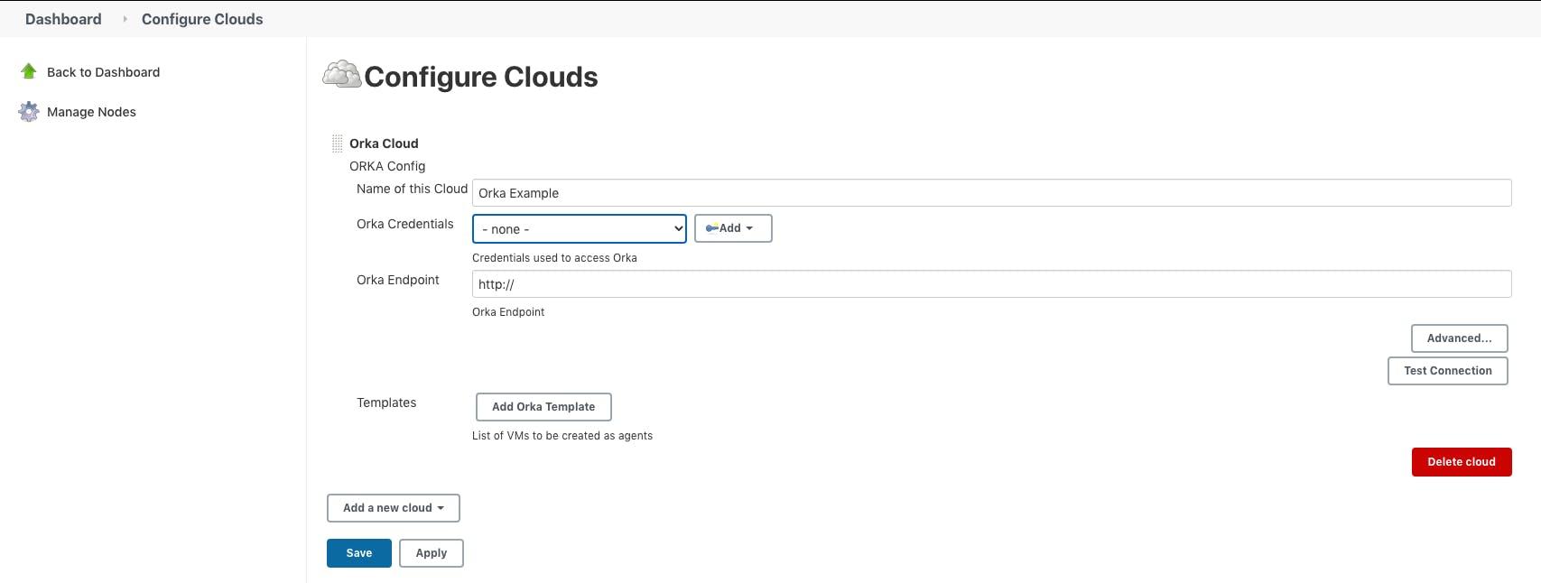 add new cloud in Jenkins_Orka cloud