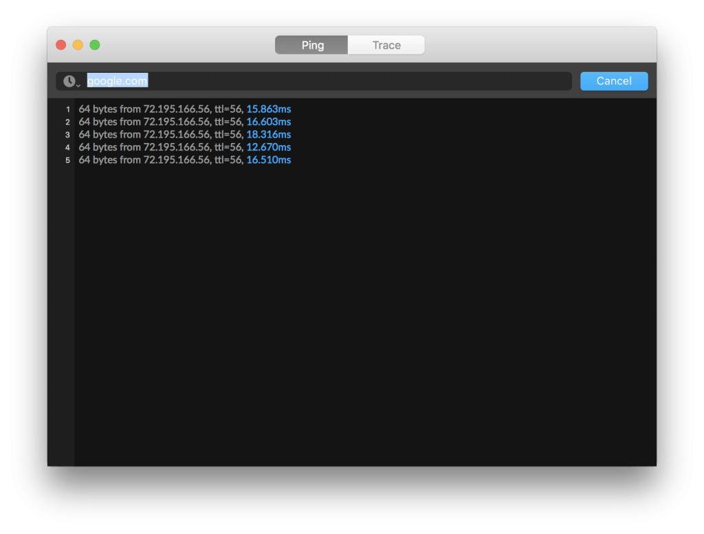 iStat Mac ping tool