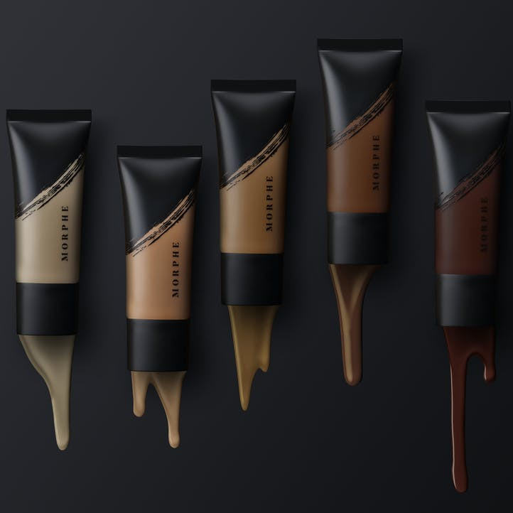 Image of 5 tubes of Morphe FLUIDITY FULL-COVERAGE FOUNDATION in a variety of shades.