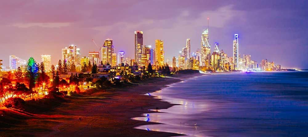 The lights of the Gold Coast skyline