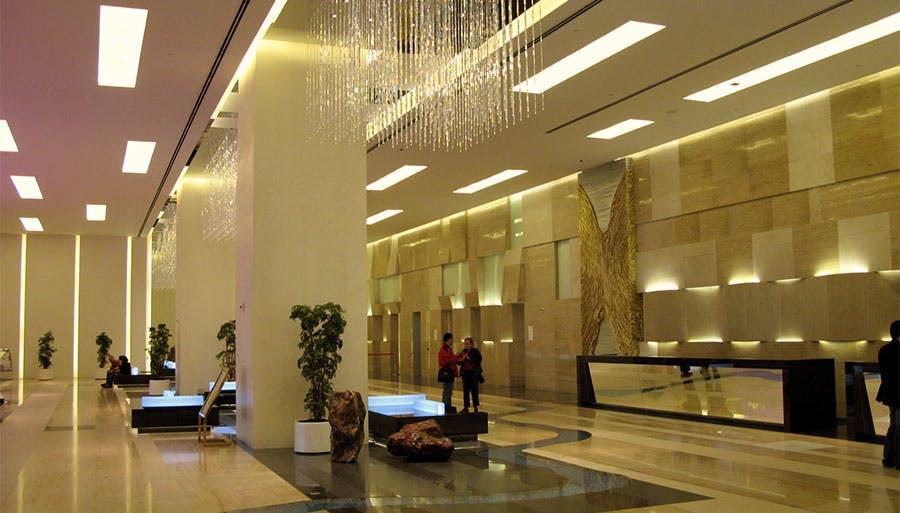 Cozy hotel lobby