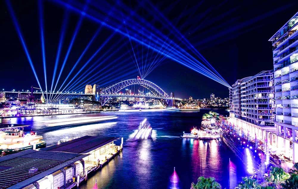 Electric Lights of Vivid Festival over Sydney