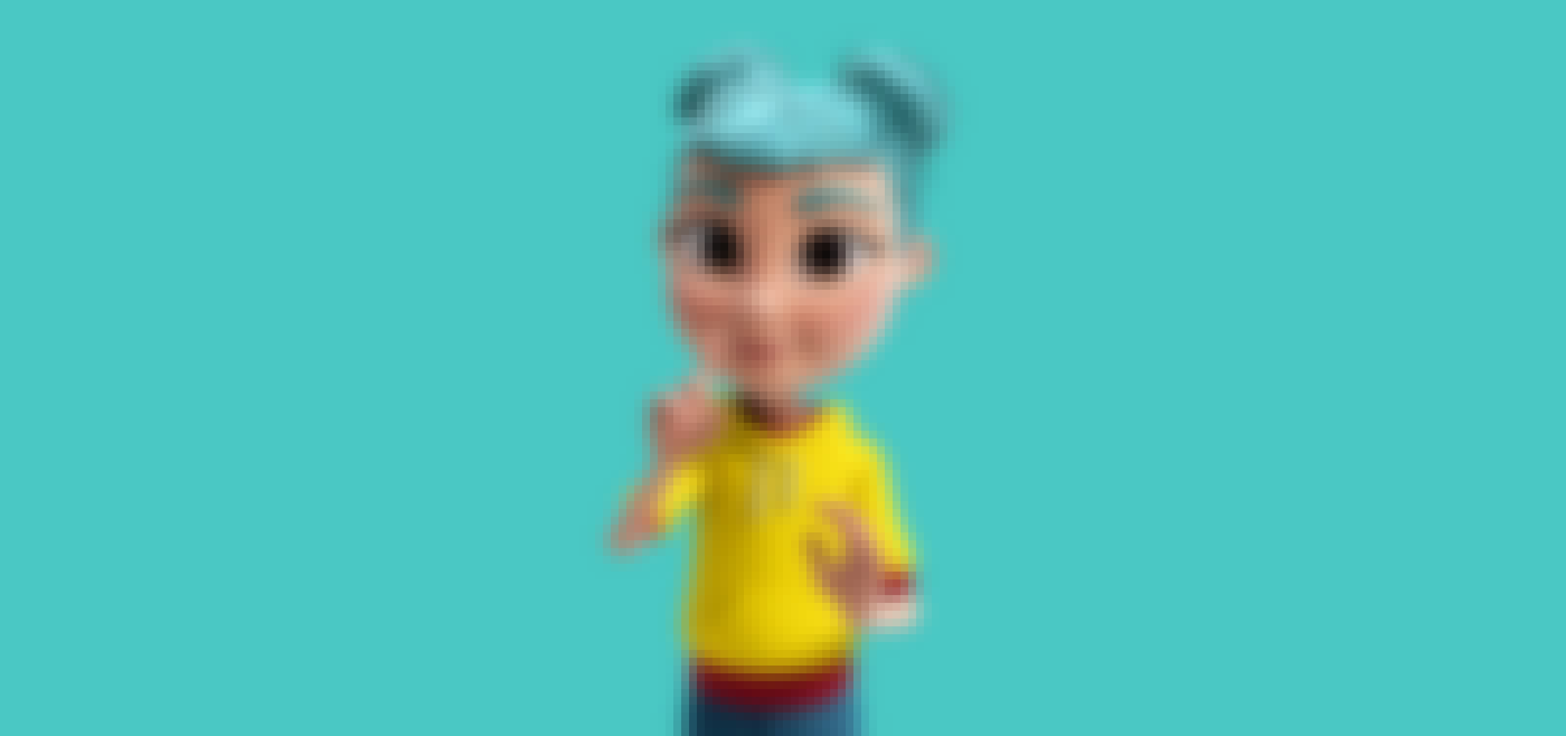 3D character from Storysign, on a blue background