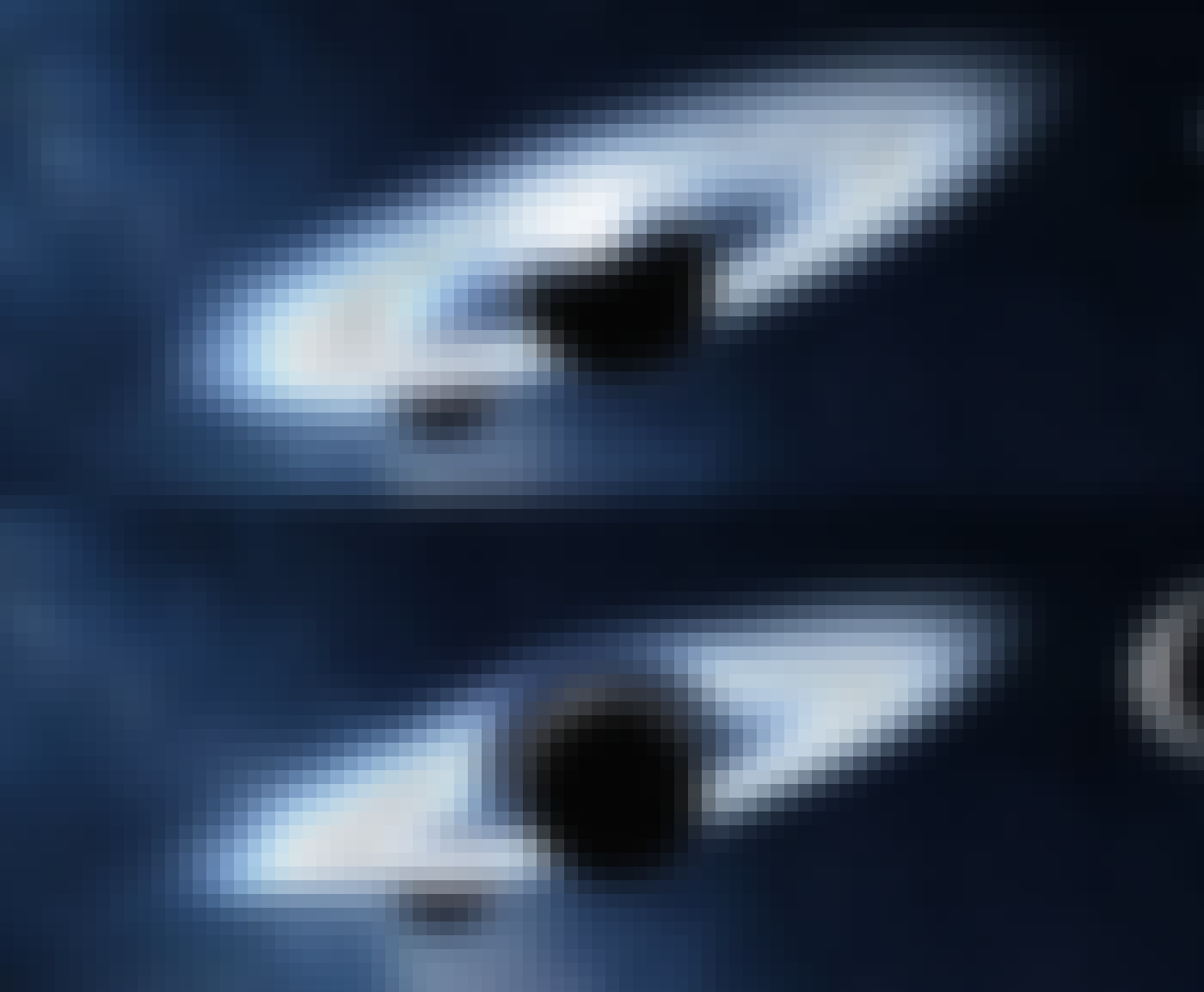 2 pictures of different position of asteroids around a planet.