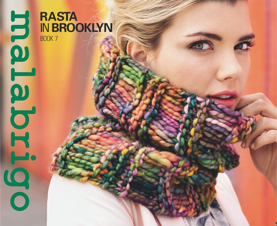 Malabrigo Book 7, Rasta in Brooklyn Girl with a knitted cowl