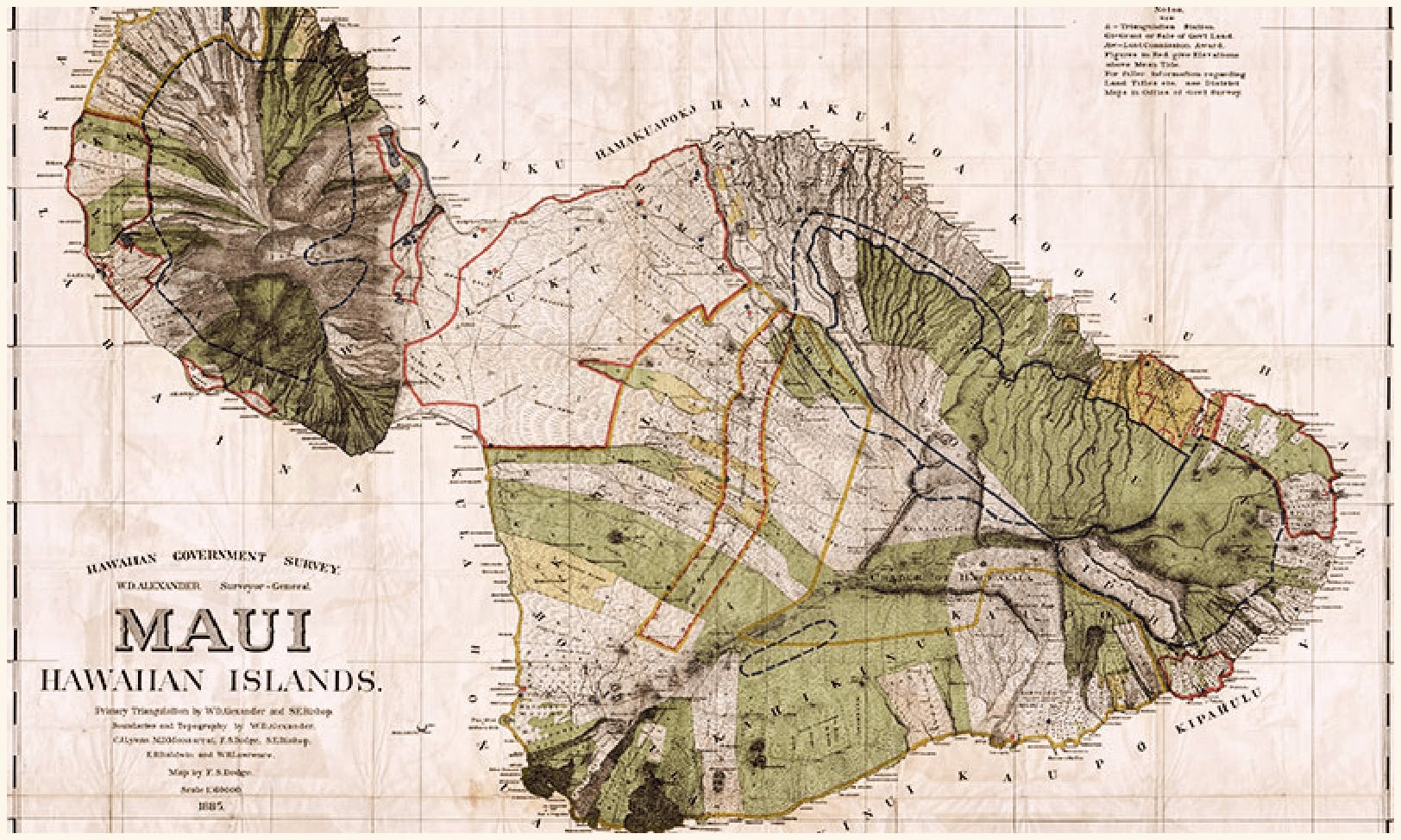 vintage map of the island of Maui