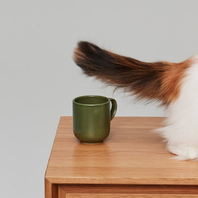 Cats tail wagging above a cup