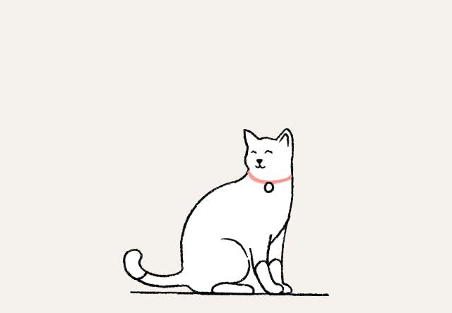 Cat smiling illustration