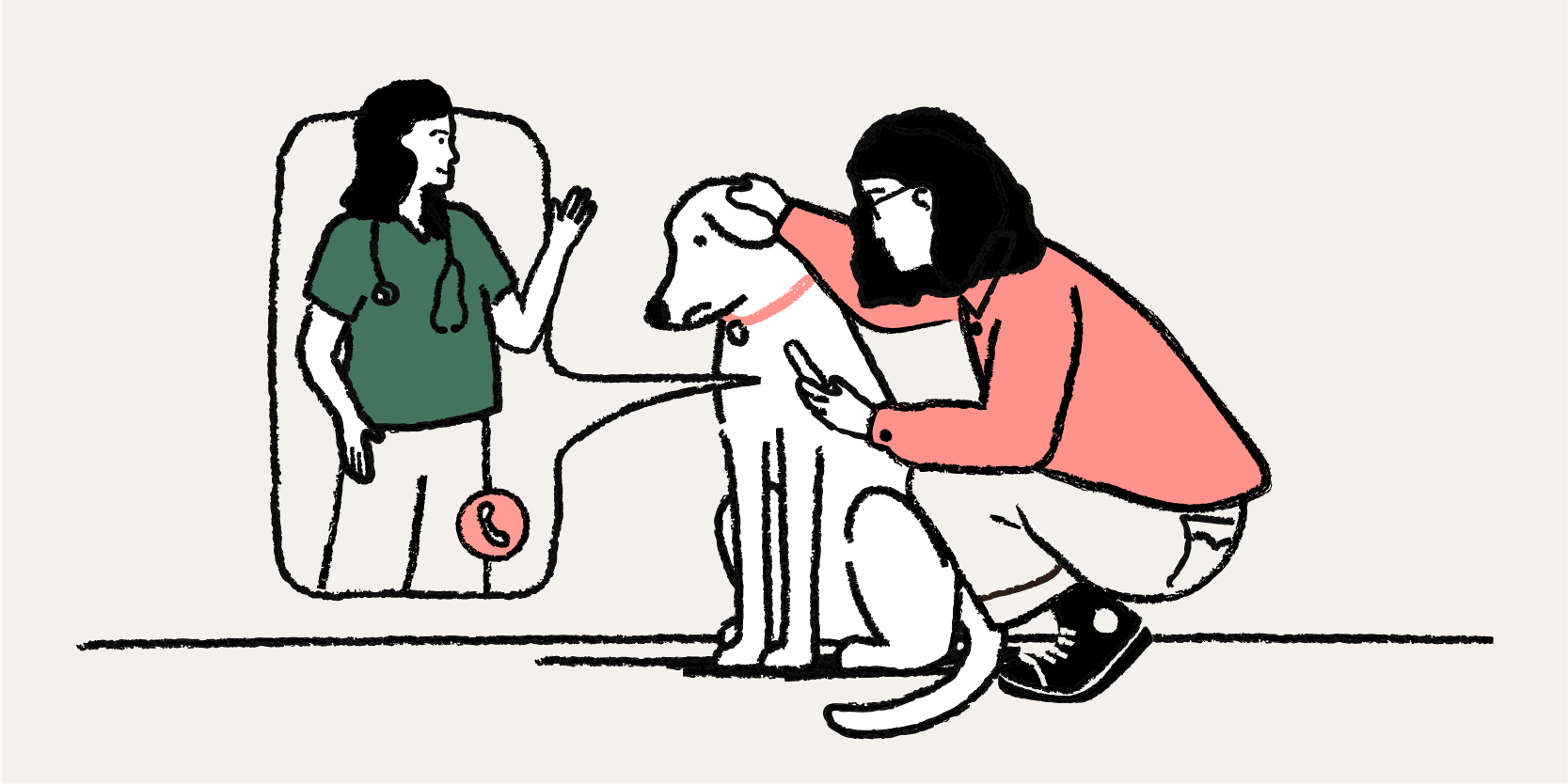 Woman dialing a Vet with her dog