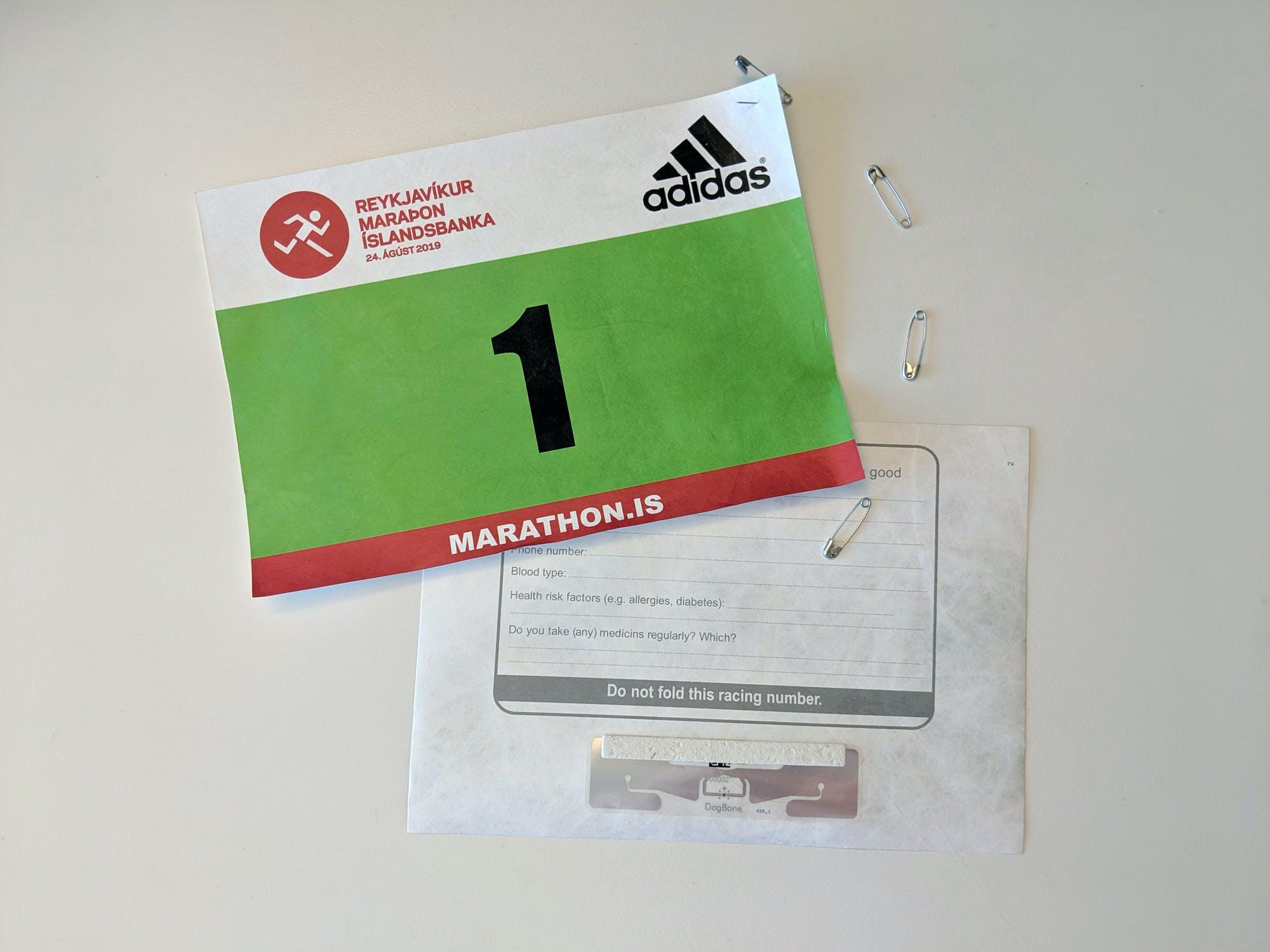 Hlaupnúmer í Reykjavíkurmaraþoni Íslandsbanka 2019 /  2019 Íslandsbanki Reykjavik Marathon bib number