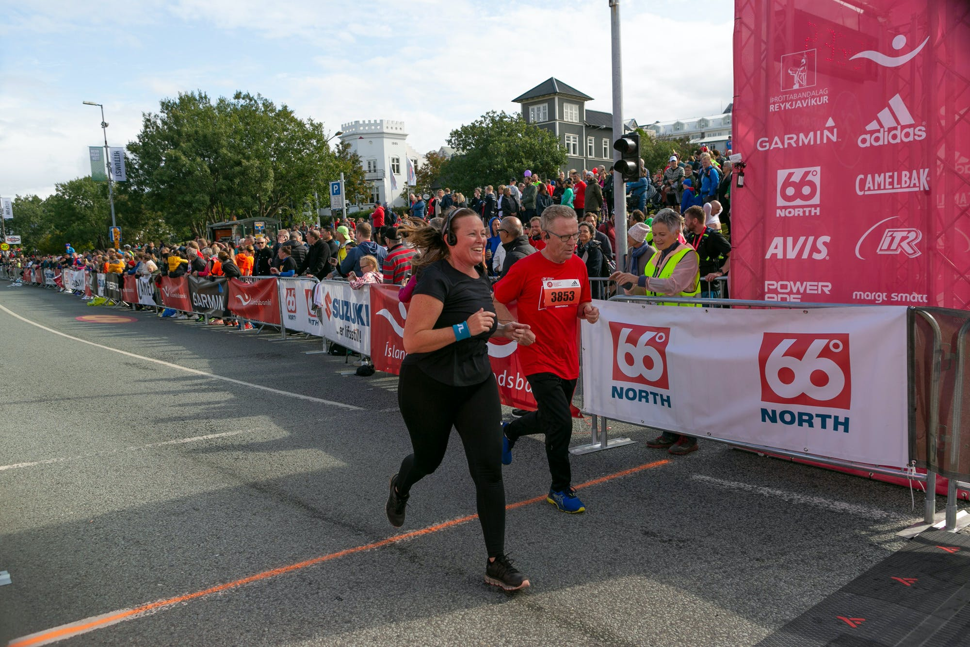 Participants finishing the Íslandsbanki Reykjavik Marathon