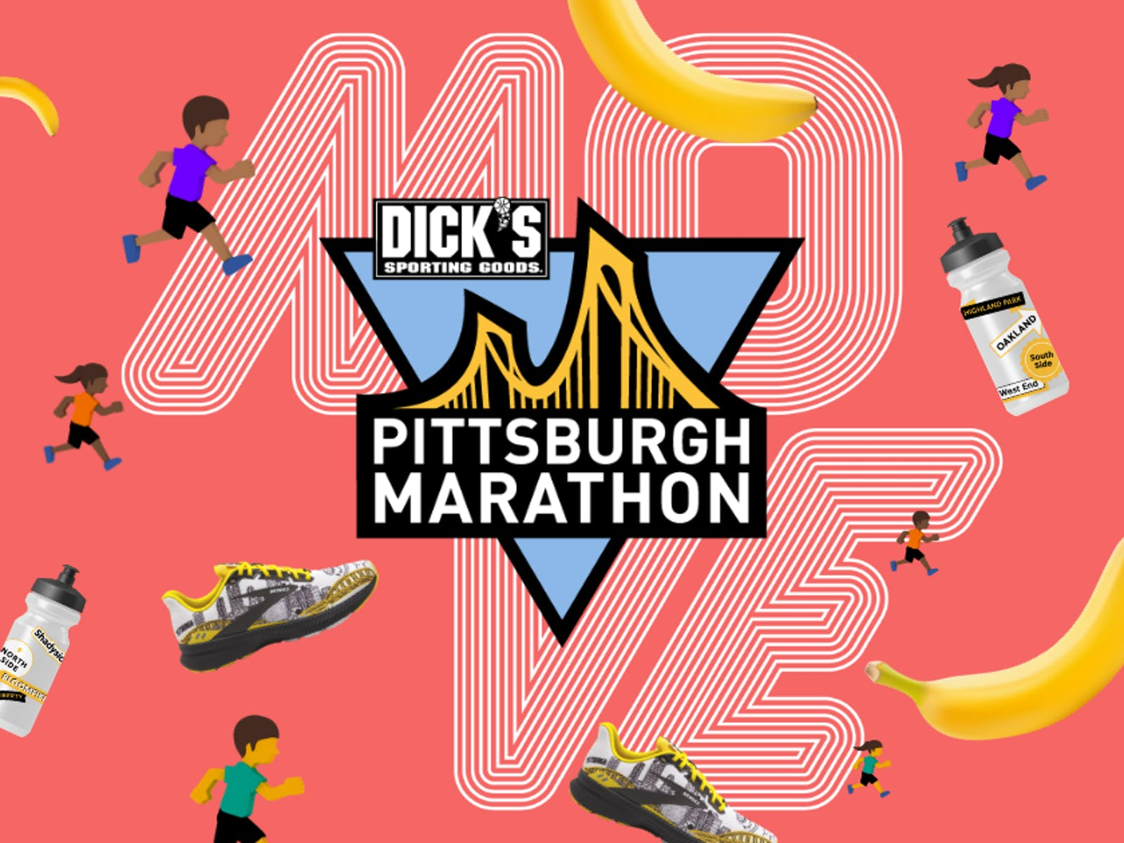 Pittsburgh Marathon logo surrounded by items including shoes and bananas