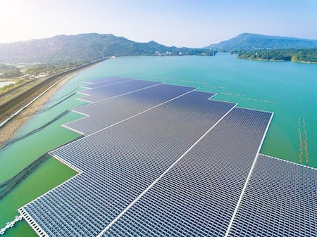 Floating Solar Array built with Marine Flex Elastic Mooring.