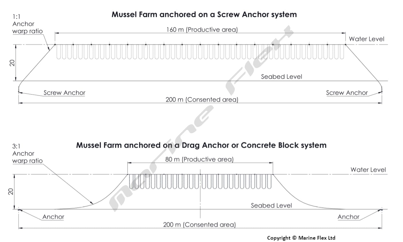 Mussel farm on screw anchor system vs concrete block system