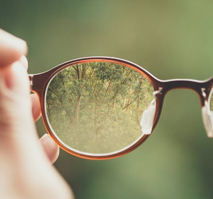 view through eyeglasses