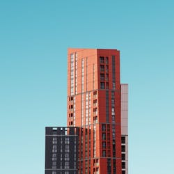 buildings amoung a blue sky