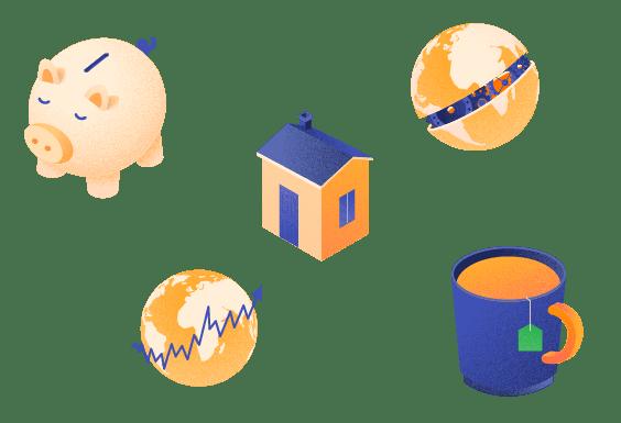 a piggy bank, a house, a mug and a globe in nutmeg colours