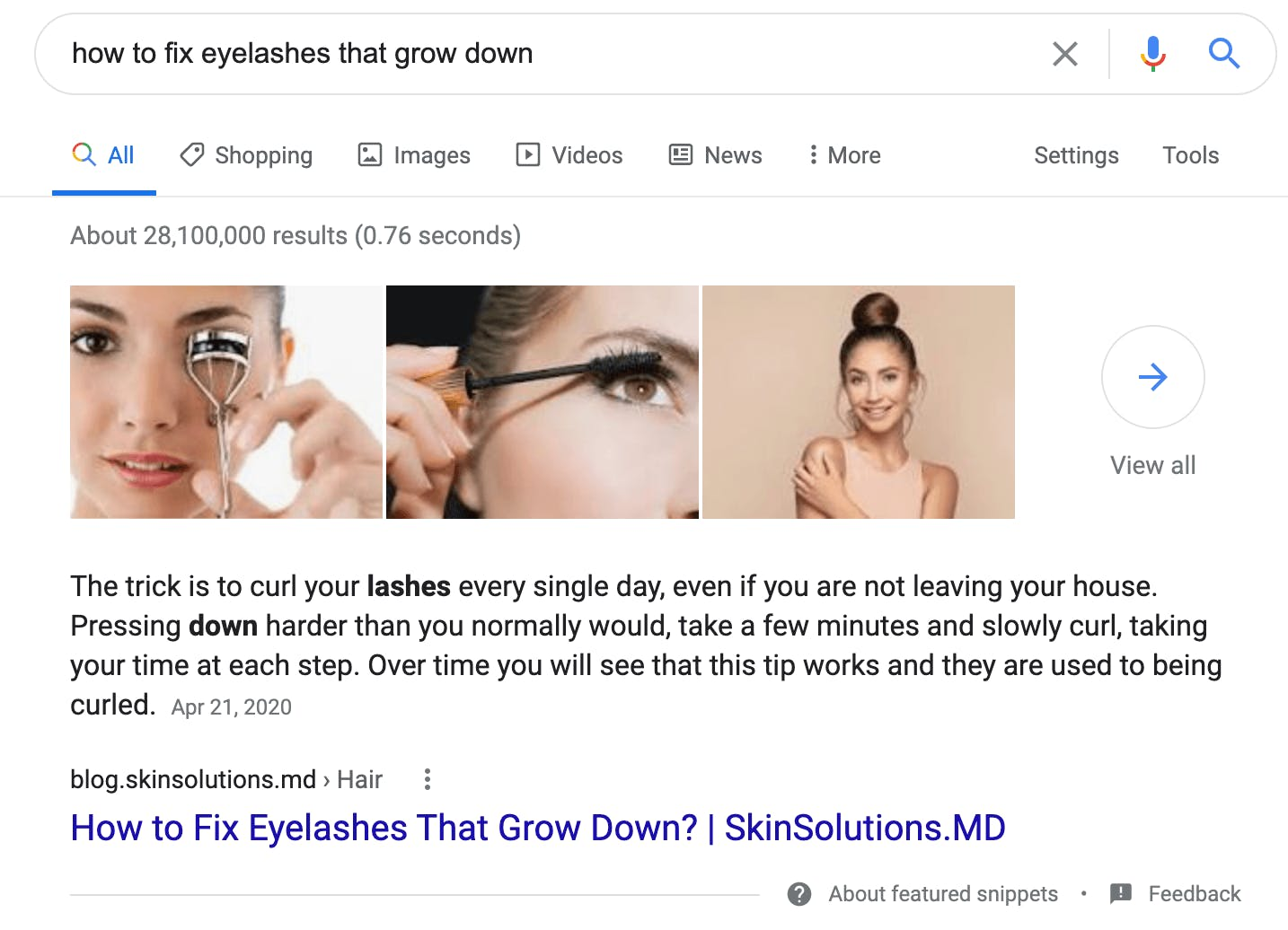 skinsolutions.md featured snippet
