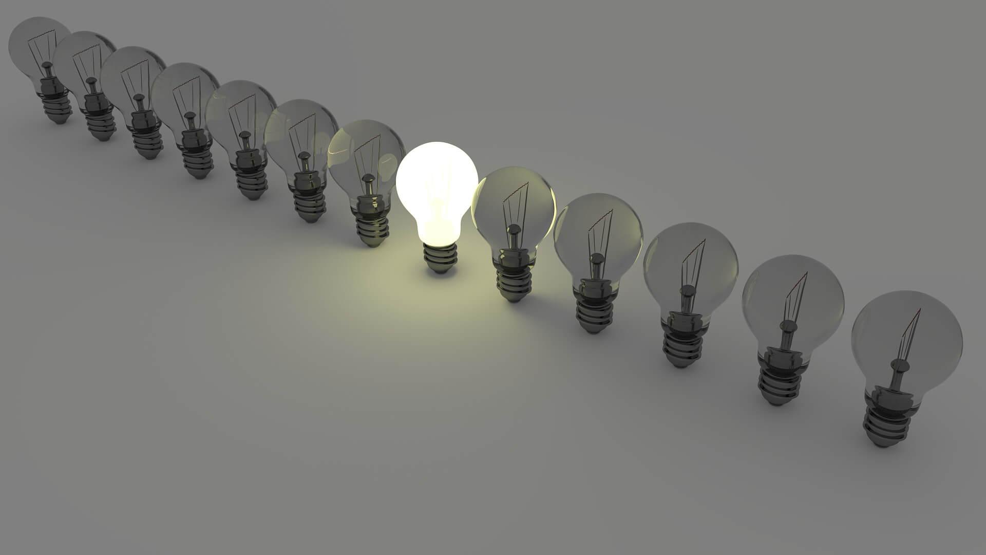 a single light bulb turned on