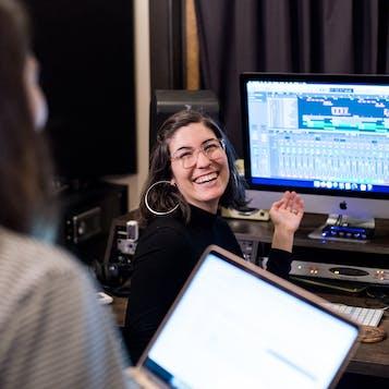 woman-at-music-production-studio